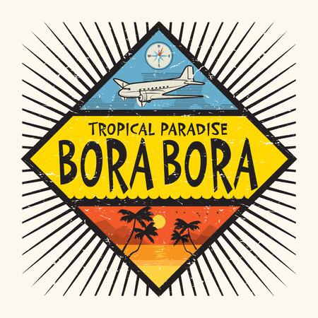 Stempel of label met de naam Bora Bora Island, Tropisch Paradijs, vectorillustratie