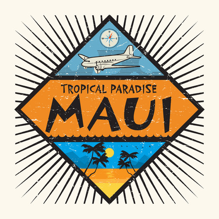 Stamp or label with the name of Maui Island, Hawaii, Tropical Paradise, vector illustration Illustration