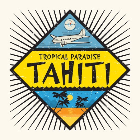 paradise beach: Stamp or label with the name of Tahiti Island, Tropical Paradise, vector illustration.