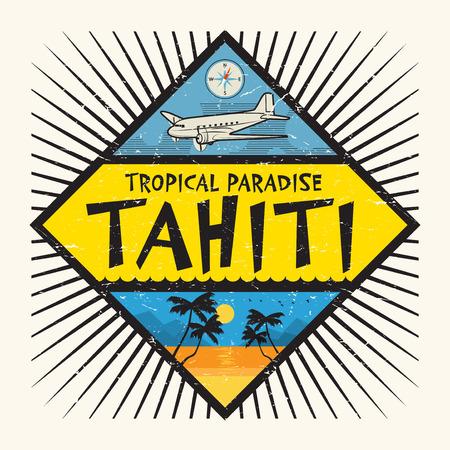 Tampon ou une étiquette avec le nom de l'île de Tahiti, paradis tropical, illustration vectorielle.