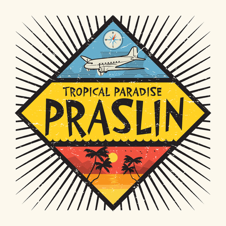 Stamp or label with the name of Praslin Island, Tropical Paradise, vector illustration. Illustration
