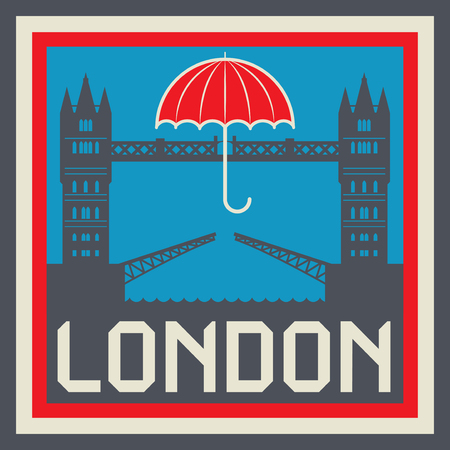 london tower bridge: Label with text London and Tower Bridge with Umbrella. Typography, t-shirt graphics, poster, print, banner or postcard, vector illustration.