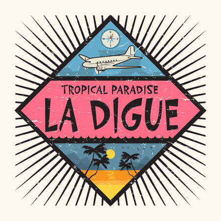 Stamp or label with the name of La Digue Island, Tropical Paradise, vector illustration. Illustration