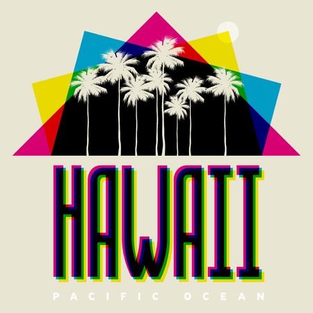 Theme of Hawaii beach. Typography, t-shirt graphics, poster, print, banner or postcard, vector illustration Illustration