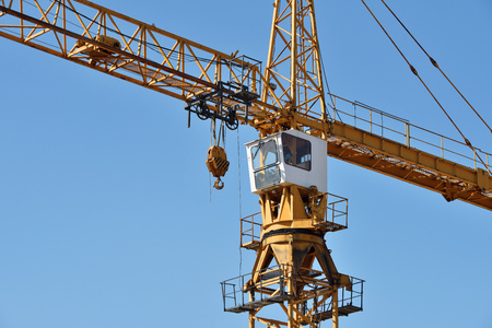 metal parts: Tower Crane in Construction site close up Stock Photo