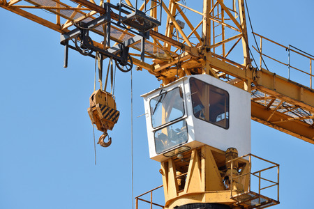 Tower Crane in Construction site close up Stock Photo