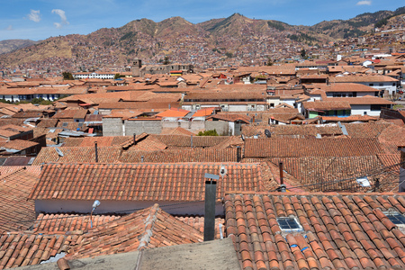 declared: View of Cusco, Peru. In 1983 Cusco was declared a World Heritage Site by UNESCO. Stock Photo