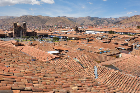plaza of arms: View of Cusco Peru. In 1983 Cusco was declared a World Heritage Site by UNESCO.