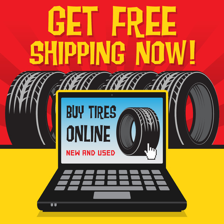 mounting: Vintage tire service or garage poster with text Buy Tires Online, Get Free Shipping Now, vector illustration