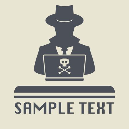 Spy agent searching on laptop. Spy icon or sign symbol. Man in hat, vector illustration. Vektoros illusztráció