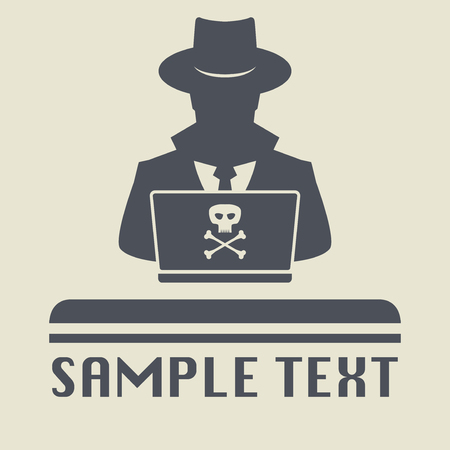 Spy agent searching on laptop. Spy icon or sign symbol. Man in hat, vector illustration.
