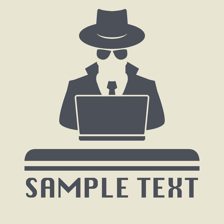 lurcher: Spy agent searching on laptop. Spy icon or sign symbol. Man in hat, vector illustration.