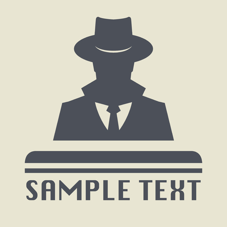lurcher: Spy icon or sign symbol. Man in hat, vector illustration.