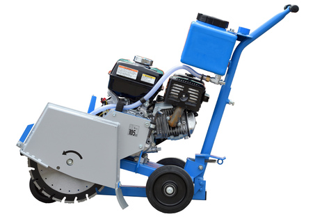Asphalt or concrete cutting machine with diamond saw blade isolated over white background