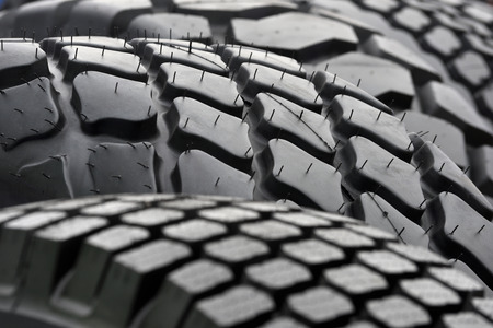 traction: Big Truck tires close up
