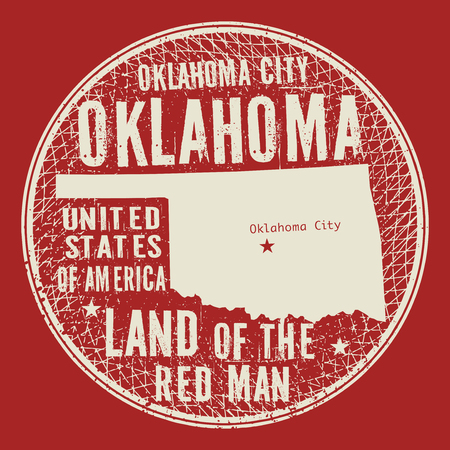 nationalist: Grunge vintage round stamp or label with text Oklahoma City, Oklahoma, Land of the red man, vector illustration