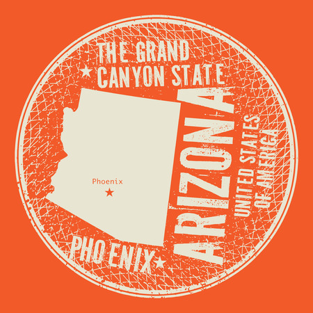 Grunge vintage round stamp or label with text Phoenix, Arizona, The Grand Canyon state, vector illustration