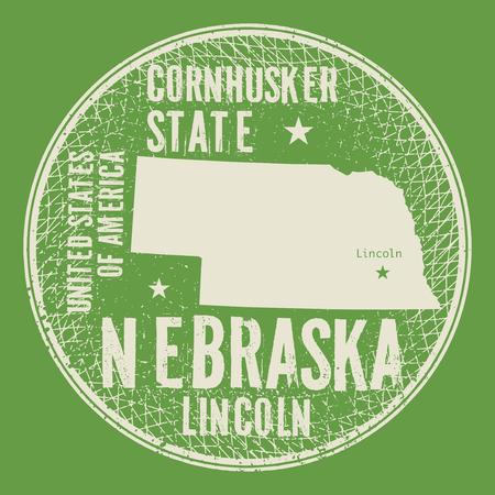 Grunge vintage round stamp or label with text Lincoln, Nebraska, Cornhusker state, vector illustration