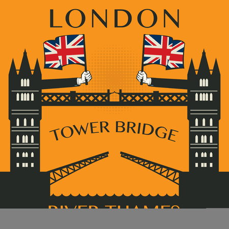 London Tower bridge poster or label, vector illustration