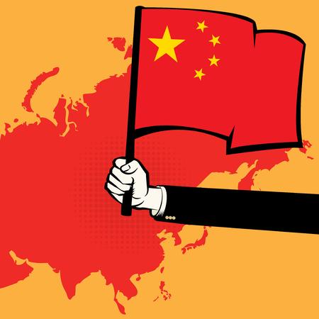 Hands Hold China Flag, vector illustration Illustration