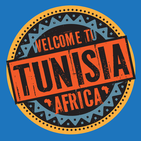 텍스트와 함께 grunge 고무 스탬프 튀니지, 우표 안에 쓰여진 아프리카에 오신 것을 환영합니다