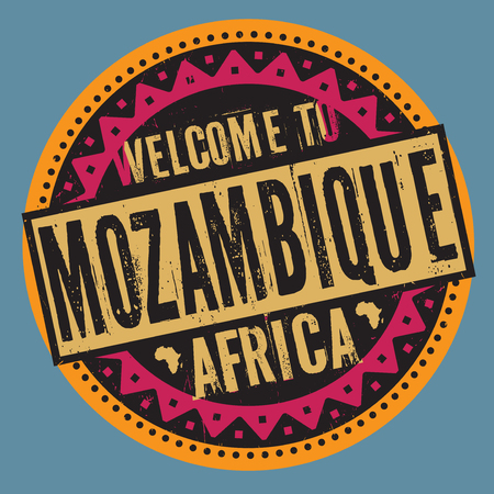 mozambique: Grunge rubber stamp with the text Welcome to Mozambique, Africa wrote inside the stamp
