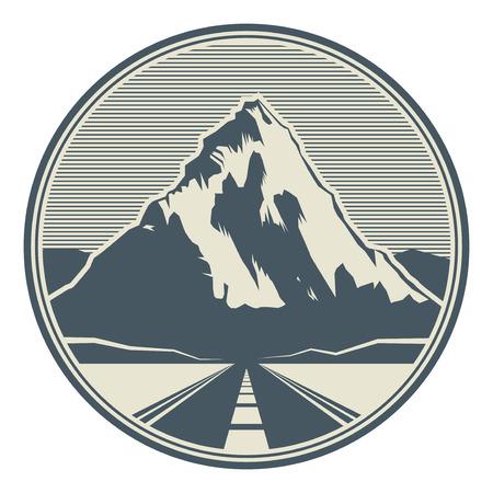 산도로 풍경입니다. 모험 야외 원정 산 눈 덮인 피크 산 서명 또는 아이콘, 벡터 일러스트 레이 션