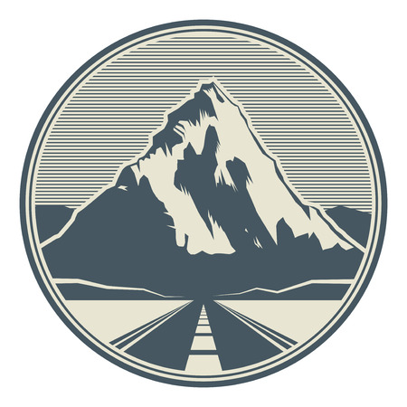 Mountains road landscape. Adventure outdoor expedition mountain snowy peak mountain sign or icon, vector illustration Çizim