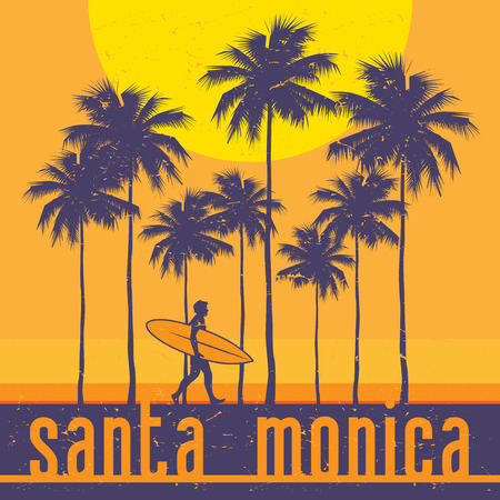 California coast, Santa Monica beach, surfer poster. Vector illustration