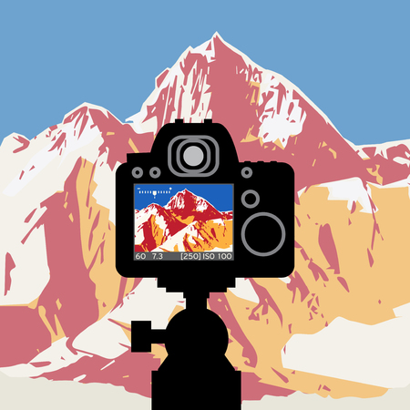 DSLR reflex camera photographing with on screen live image of mountain landscape, vector illustration