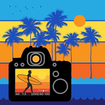 Summer travel and adventure background with DSLR camera and surfer man Illustration