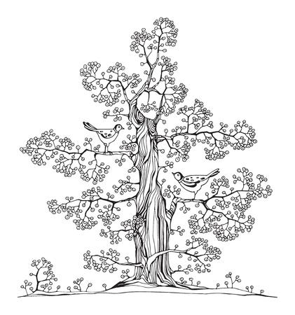 Hand drawn tree with birds, vector illustration