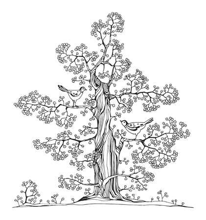 Hand drawn tree with birds, vector illustration