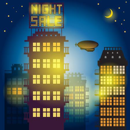 City at night. Illustration