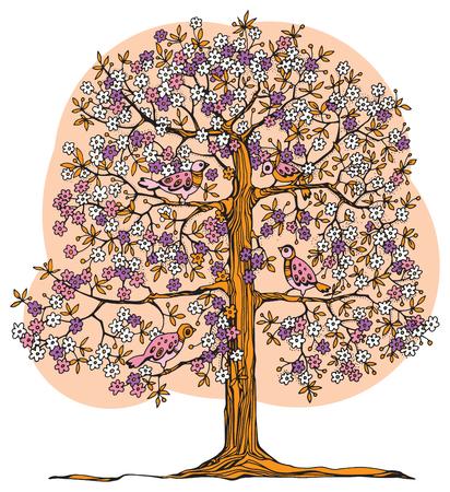 Dibujado a mano árbol de color con pájaros, ilustración vectorial