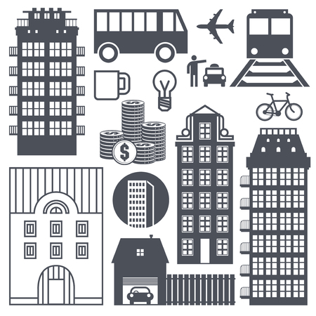 Europe street life and houses set. Vector illustration