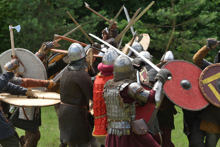 Medieval fights at International Festival of Experimental Archeology in Lithuania Stock Photo