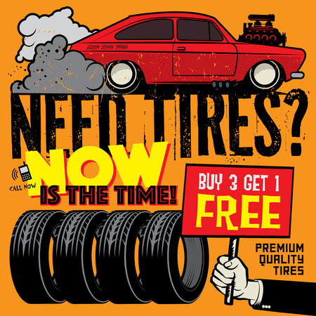 Vintage tire service or garage poster with text Buy 3 get 1 Free, Premium Quality Tires, vector illustration Illustration