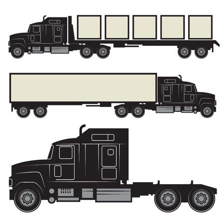 Ensemble de camions et remorques noir et blanc, illustration vectorielle fond blanc isolé