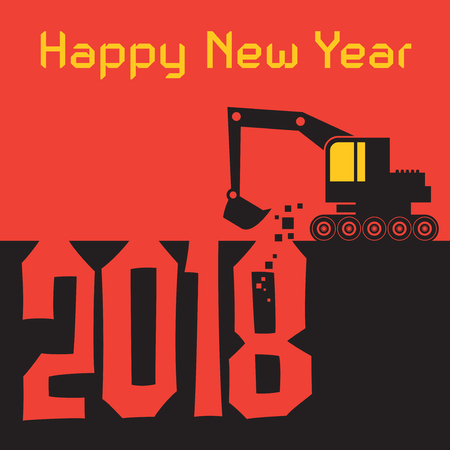 tractor warning: Happy New Year greeting card with Excavator digger at work vector illustration