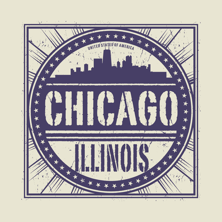 Grunge rubber stamp or label with text Chicago, Illinois written inside, vector illustration