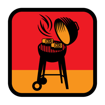 Grill or BBQ symbol or sign. Flat style design. Vector illustration