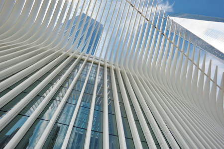 NEW YORK CITY - AUGUST 23: Exterior of the WTC Transportation Hub on August 23, 2017 in New York City, USA. The main station house, the Oculus, opened on March 4, 2016.