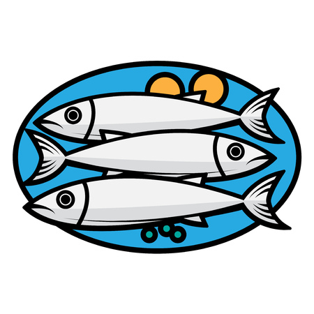Fresh fishes and vegetables on a plate vector illustration