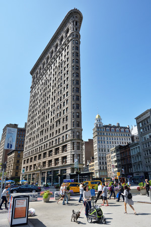 NEW YORK CITY - AUG. 26 : Flatiron Building on August 26, 2017 in New York City, NY. The Flatiron Building is a triangular 22-story landmarked building located at 175 Fifth Avenue in Manhattan