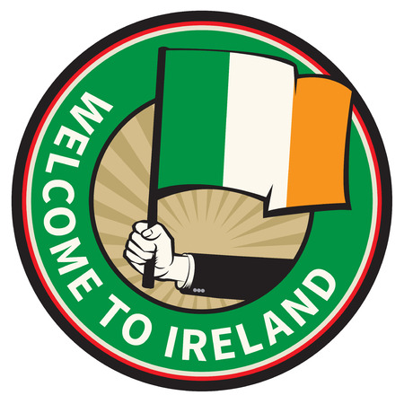 Ireland country welcome sign or stamp. Vector illustration Illustration
