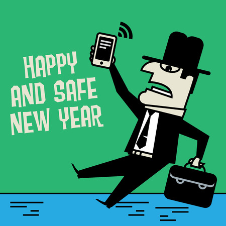 adult oops: Businessman with mobile phone slipping on ice and falling down Illustration
