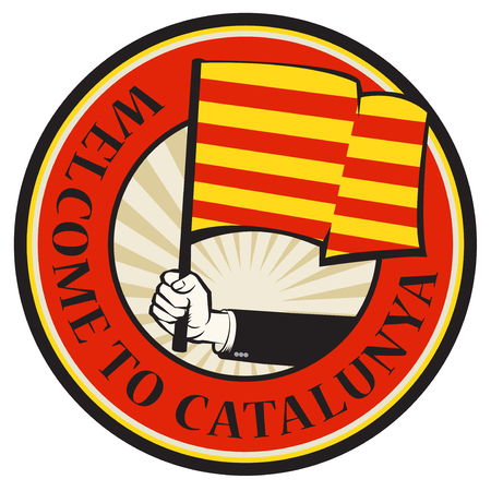 Catalonia country welcome sign or stamp. Vector illustration Illustration