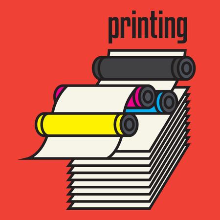 Offset printing machine sign or symbol. Press equipment symbol, vector illustration
