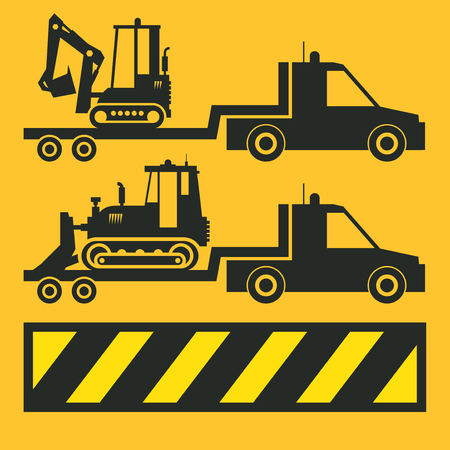 Tractor transportation icon or sign on yellow background. Tractor grader bulldozer silhouette, vector illustration